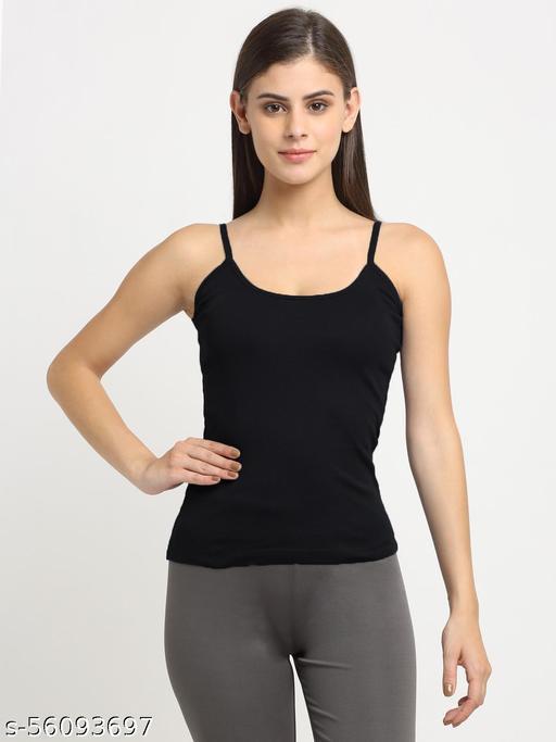 Women Black Cotton Rib Sleeveless Camisole