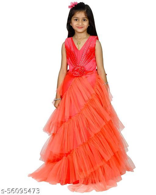Alisha Moda Girls Maxi/Full Length Party Gowns (Sleeveless)