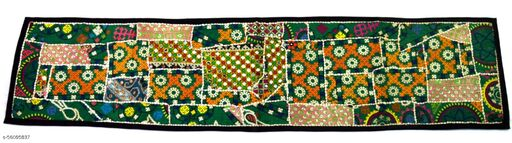 Indian Old style Mirror Work Table Runner Traditional Indian Gift. i17-169