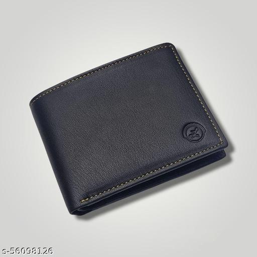 LIMERENCE Men Black Genuine Leather Bi-Fold Wallet