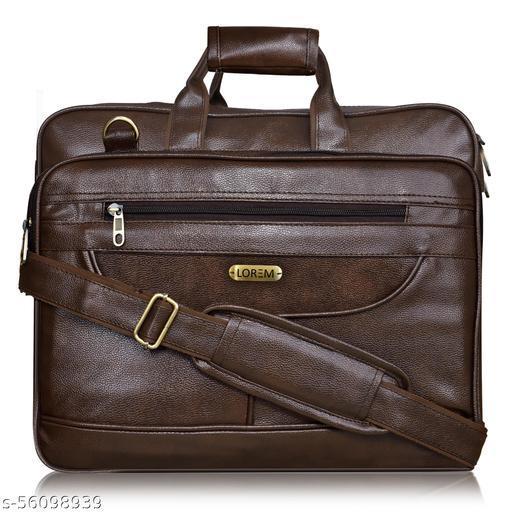 BG08 Dark Brown Color Large-Big Expandable Cross Body Laptop Shoulder+Briefcase Bag for Office-Business Professional Travel Messenger Bag