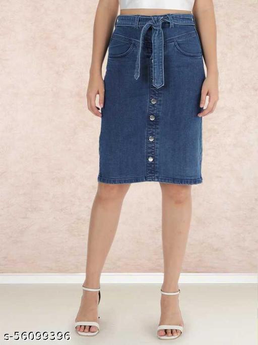 The Dry State Women Dark Blue Coloured Regular Skirt