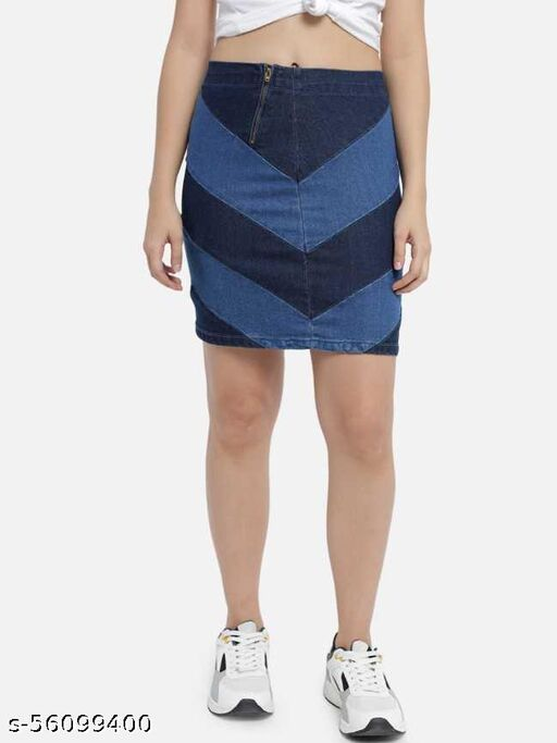 The Dry State Women Blue Coloured A-line Skirt