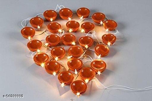 Brown Diya Light 2M Electric 20 Deepak LED Fairy String Series Lights Home Diwali Decoration Lightning