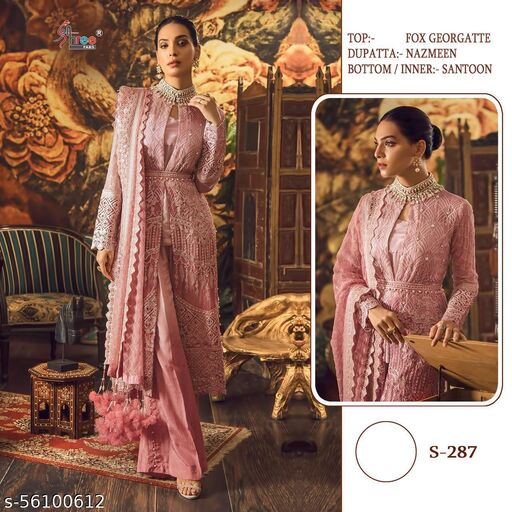 heavy embroidery Fashionable Semi-Stitched Suits
