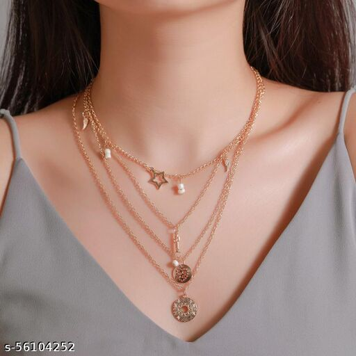 Fashion Story Fancy Multi Layered Gold Plated Necklace Chain for Women Wedding, Party and Regular use with Necklace Set Golden Chain with Gold Plated Alloy Necklace