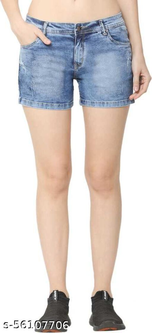 Zeston Solid Women Light Blue Denim Shorts