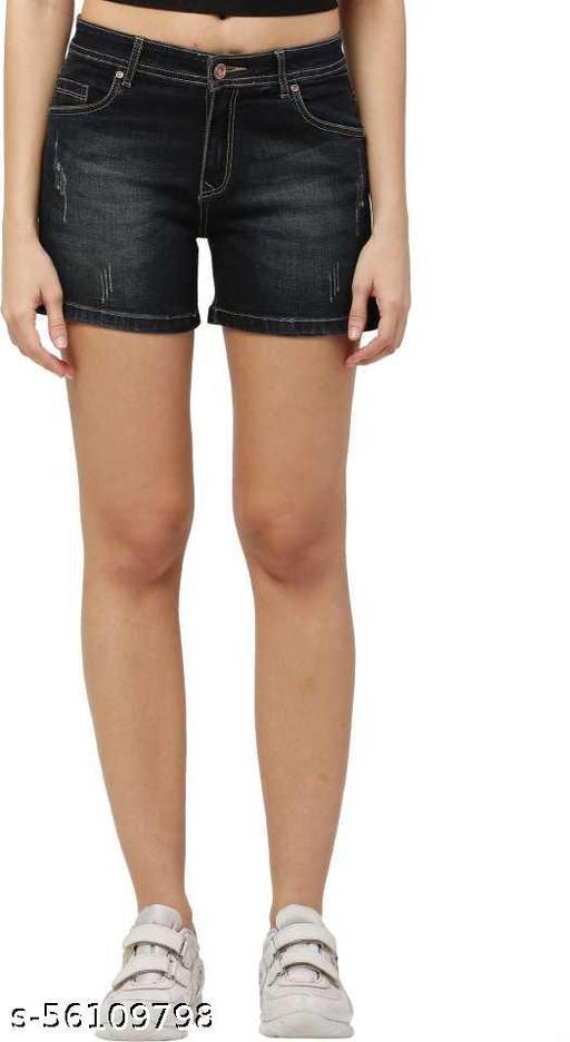 Zeston Self Design Women Black Denim Shorts