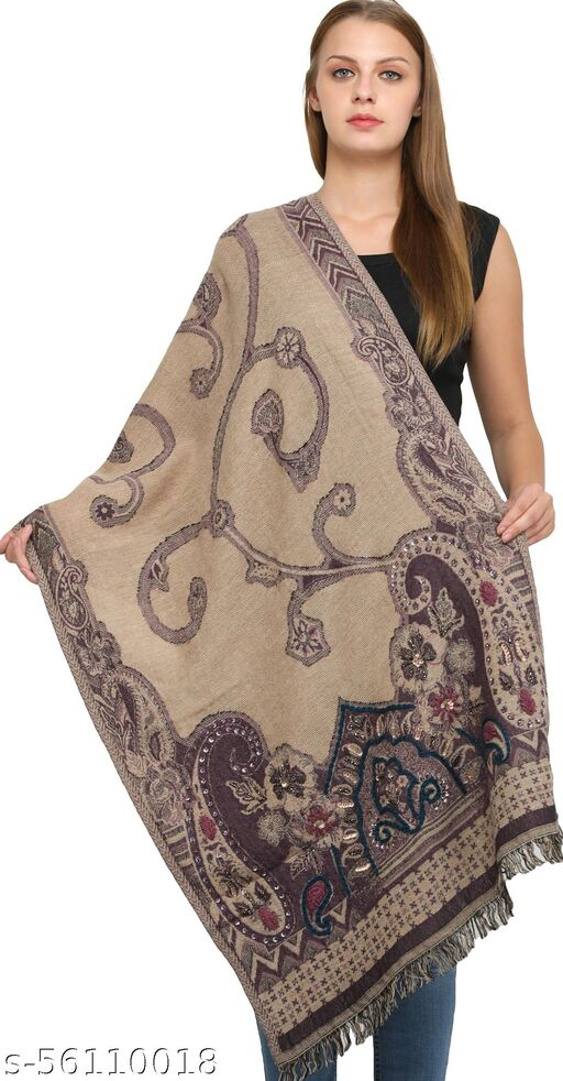 Exotic India Tidal-Foam Wool-Embroidered Jamawar Stole with Woven Paisleys and Sequins