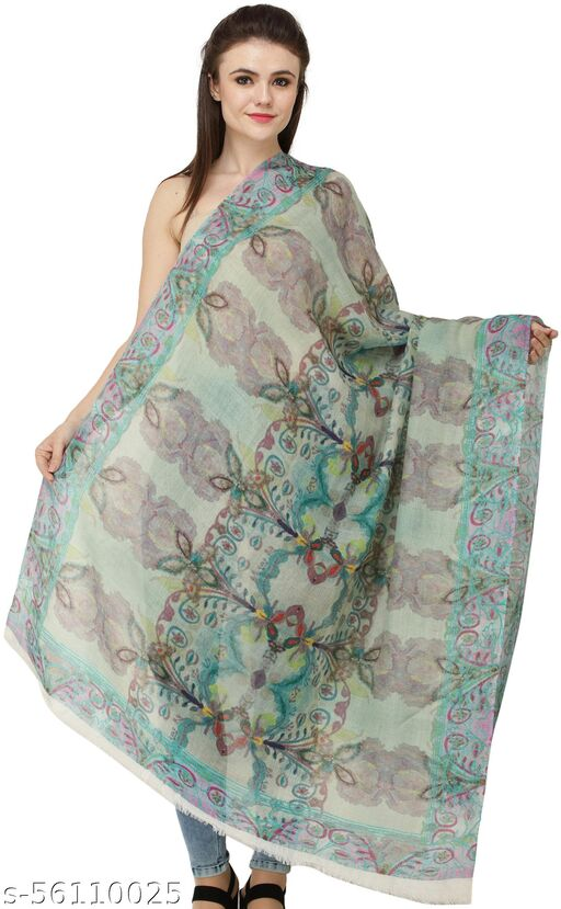 Exotic India Loden-Frost Digital-Printed Shawl from Amritsar
