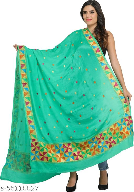 Exotic India Phulkari Dupatta from Punjab with Hand-Embroidered Border and Bootis