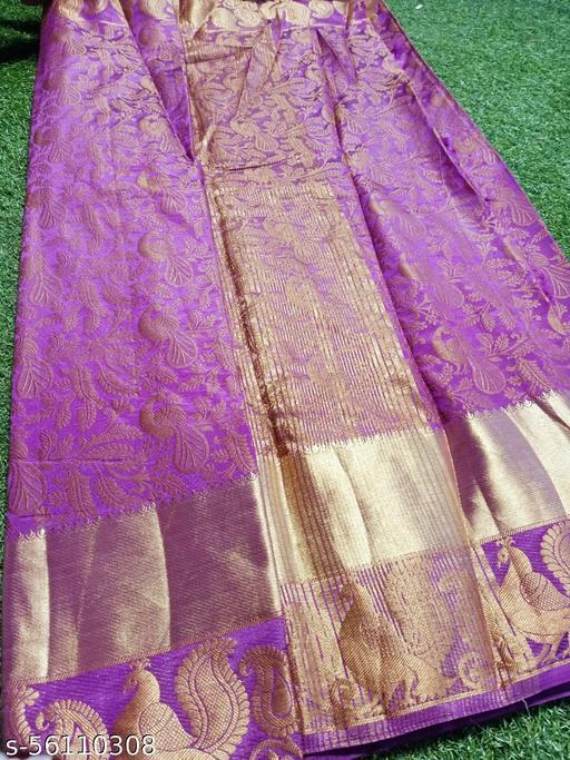 Nakshrta Purple Cotton Silk Saree Running Blouse With Zari Border