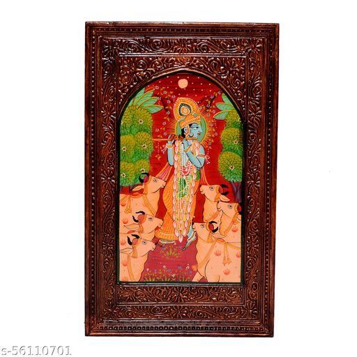 Jaipur Handicrafts Handmade Wooden Radha Krishna painting with Copper Polish Wall Hanging for Home Decor / Wall Decor / Gift Purpose