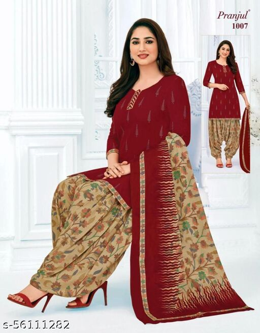 Casual Wear Maroon Color Pure Cotton printed Dress Material And Salwar Suit For Women And Girl's