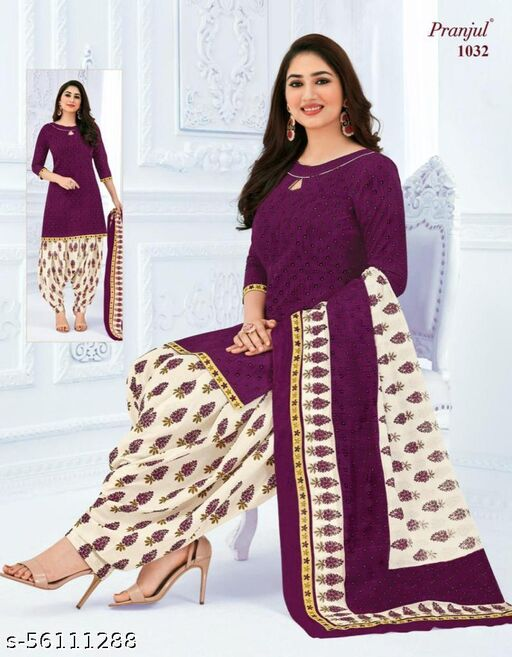 Casual Wear Purple Color Pure Cotton printed Dress Material And Salwar Suit For Women And Girl's