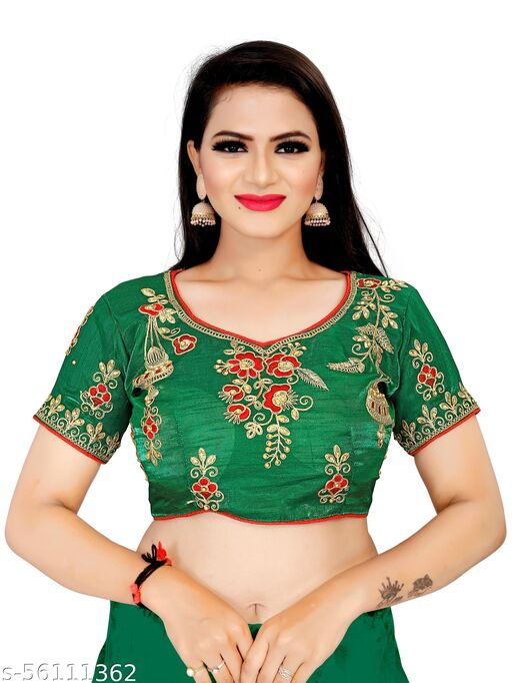 Urvashi Fashion Studio Designer Silk Green Color Embroidery Ready made Blouse Piece