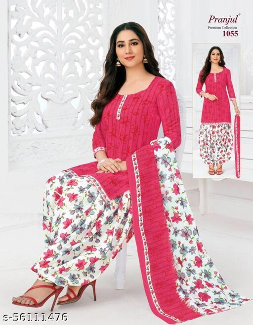 Casual Wear Pink Color Pure Cotton printed Dress Material And Salwar Suit For Women And Girl's
