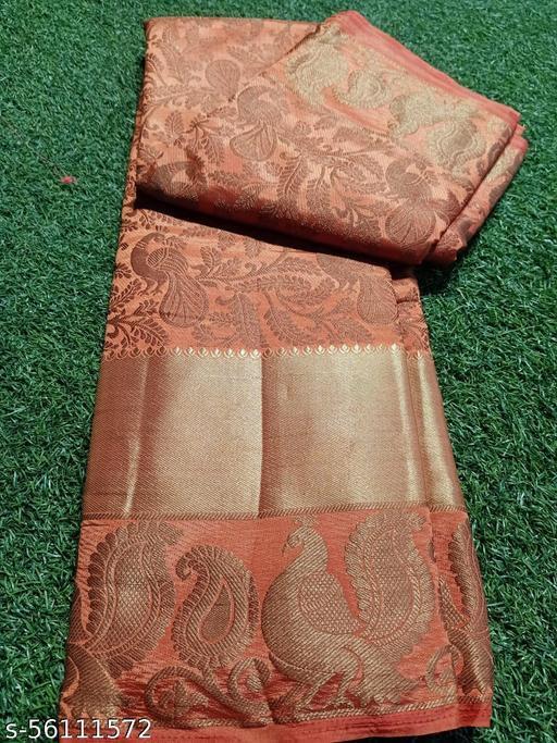 Nakshrta Orenge Cotton Silk Saree Running Blouse With Zari Border