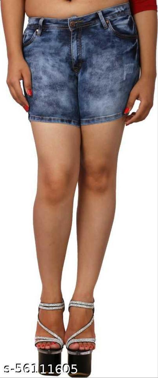 Zeston Self Design Women Blue Denim Shorts