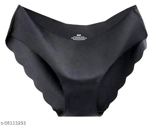 Seamless Pack of 1 Black Color Underwear Invisible Bikini No Show Nylon Spandex Women Panties