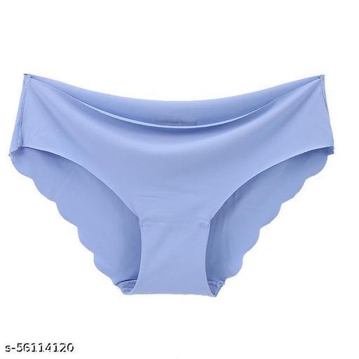 Seamless 1 Piece Blue Color Underwear Invisible Bikini No Show Nylon Spandex Women Panties