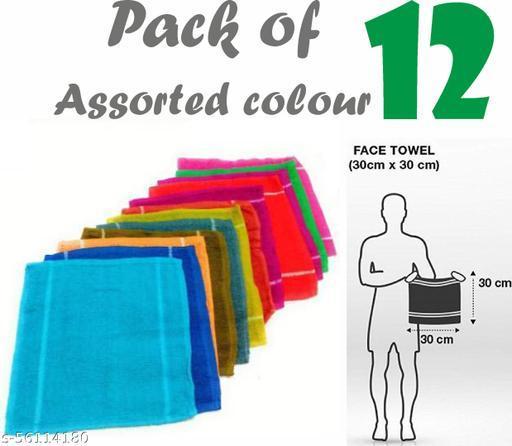 Piftif 00% Cotton 12 Piece Face Towel Set, 500 GSM (Multicolour) pack of 12 hanky