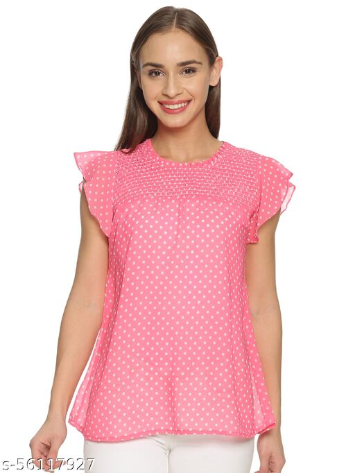 GLORY&I- PINK TOP WITH WHITE POLKA DOTS TOP