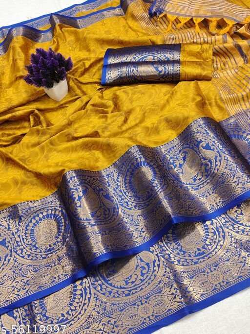THE ALL NEW HEAVY KASHMIRA RICH COTTON SILK SELF EMBOSED DESIGN COTRAST MATCHING PALLU WITH TESSELS SAREE FOR WOMEN