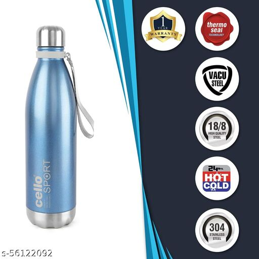 Cello Scout Stainless Steel Double Walled Water Bottle, Hot and Cold, 750ml, 1pc, Blue