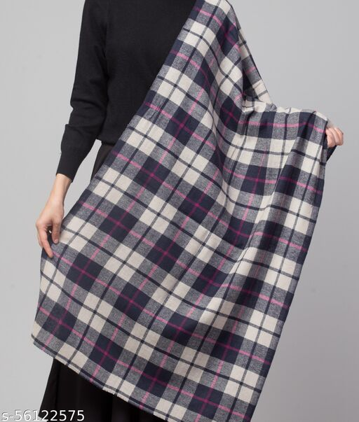 Stylish,Soft and Light Weight Blue Check Design Stole, Muffler,Scarf for Women/Girls