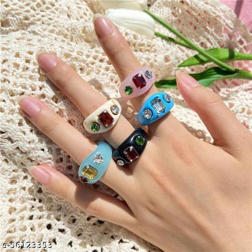 Yu Fashions Funky Acrylic Raisin Multicolour Korean Stone Ring Set of 5