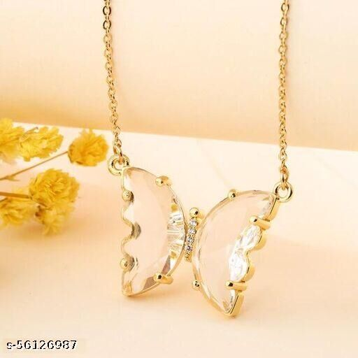 Klenot White Butterfly Pendant Chain