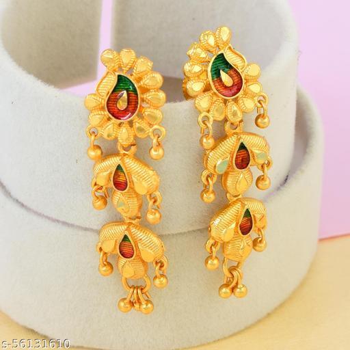 AC Gold Plated Brass Kairi Design Meenakari Triple Layer Dangle Earrings For Girls Women.
