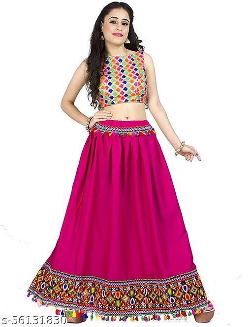 Mona'sk Women's Gujrati Long Skirts With Heavy Border Work For Diwali,Navratri,Festive Dandia Season