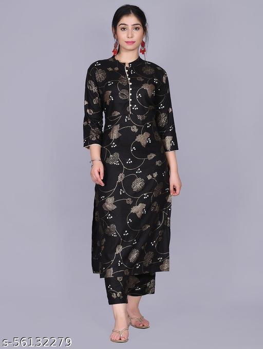 Designer Kurta and Pant Set Rayon For Womens(Black)