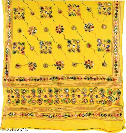 Mona'sk Rajsthani Stylish Cotton Embroidered Mirror Work Dupatta For Women's And Girls