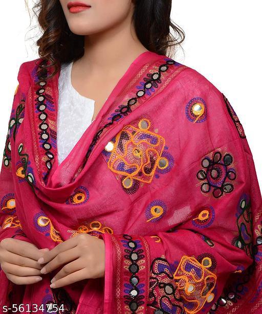 Mona'sk 100% Cotton Embroidered Paper Mirror Work Dupatta For Women's