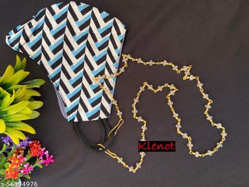 Klenot White Crystal Design Golden Mask Chain