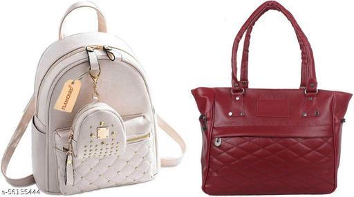 Flamebird Trendy Women's Combo Backpack & Handbag