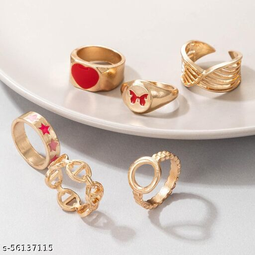 Red contrast ring set