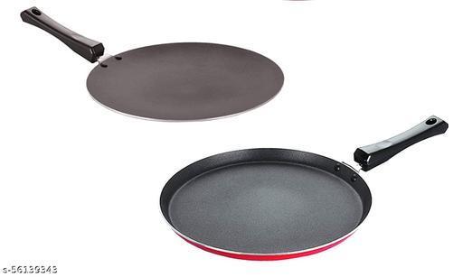 Nirlon Gas Compatible Non Stick Aluminium Cookware Set of 2 Pieces (2.6mm_CT11_FT12)
