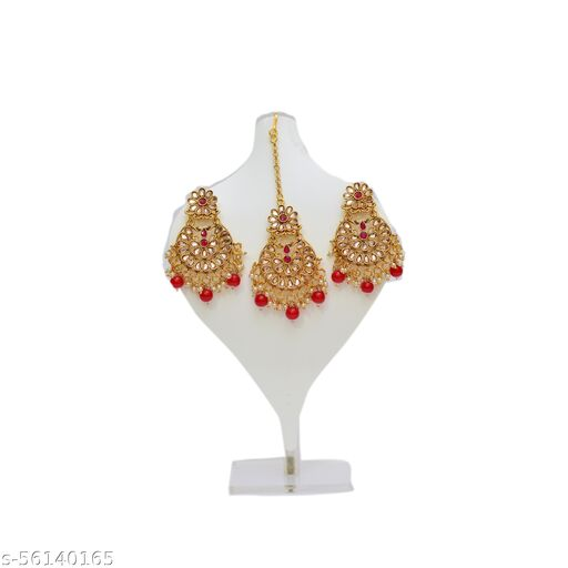 GOLD PLATED STYLES EARRING WITH MAANG TIKA