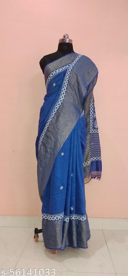 Exclusive Tussar Silk Chikankari Saree