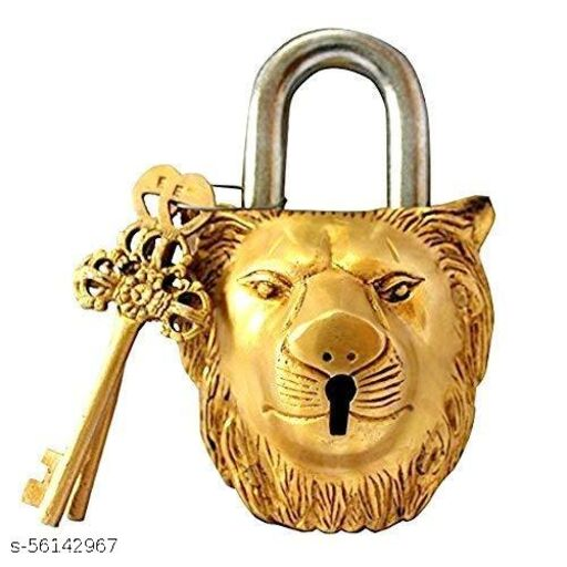 Seego Functional Lion Brass Padlock Lock with Keys (Gold, 5.5 Inches, 14 cm)