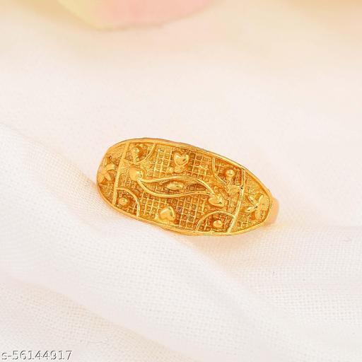 Admier Gold Plated Brass Handmade Raswara Work Traditional Free Size Ring For Girls Women.