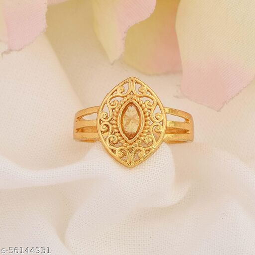 Admier Gold Plated Brass Marquise Shape Faux Yellow Sapphire Studded Floral Ring For Girls Women.