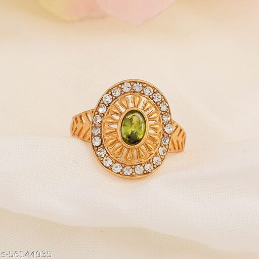 Admier Gold Plated Brass Oval Shape Faux Green Sapphire and CZ Studded Designer Ring For Girls Women.