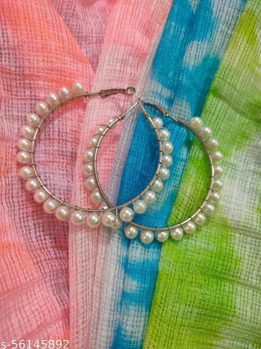 Pearl beaded trending circle hoops Earrings & Studs