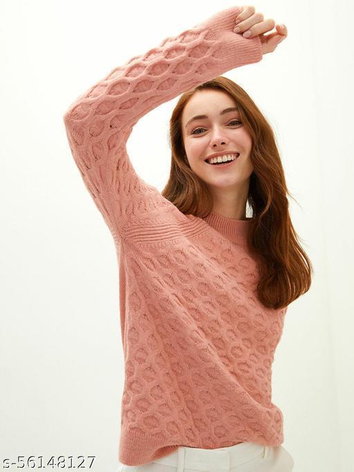 Crew Neck Self Patterned Knitwear Sweater