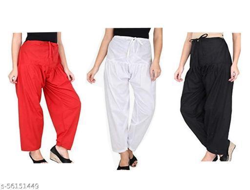 AbAllen Blu Cotton Patiala Salwar (Pants) For Women's Premium Cotton Readymade Salwar Free Size Combo Pack of 3